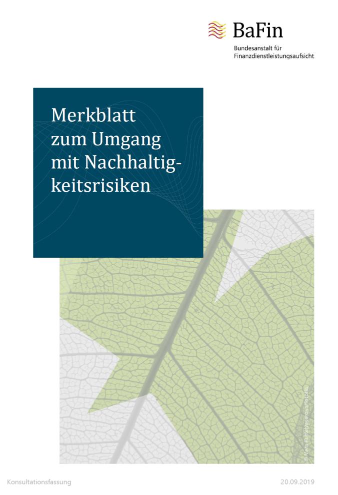 2019-09-24 BaFin Merkblatt Nachhaltigkeitsrisiken Titel